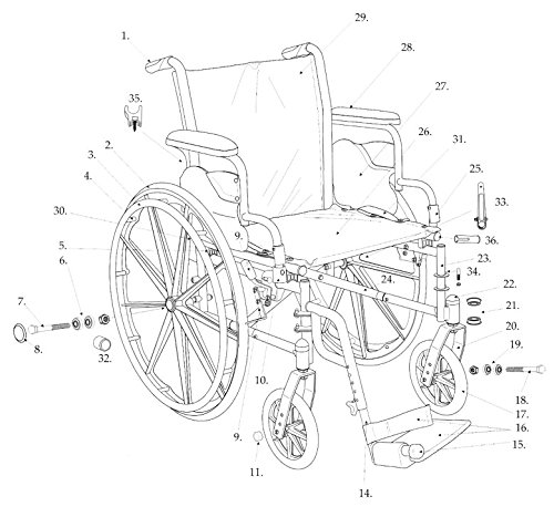 Drive Replacement Parts for Cruiser III Wheelchair (5D, Seat Upholstery 18'')
