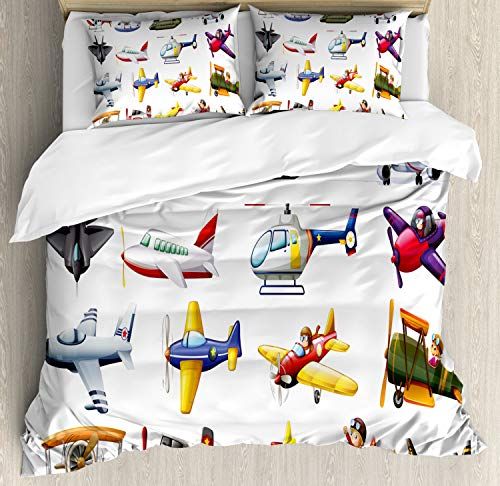 Lunarable Nursery Duvet Cover Set, Digital Representation of Aero Vehicles Aircrafts Commercial Planes Pattern, Decorative 3 Piece Bedding Set with 2 Pillow Shams, Queen Size, Red Blue (Air Plane Motels)