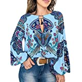 〓COOlCCI〓Women Summer Casual V-Neck Floral Print Long Sleeve Lantern Sleeve Boho Top Blouse T Shirt Blue