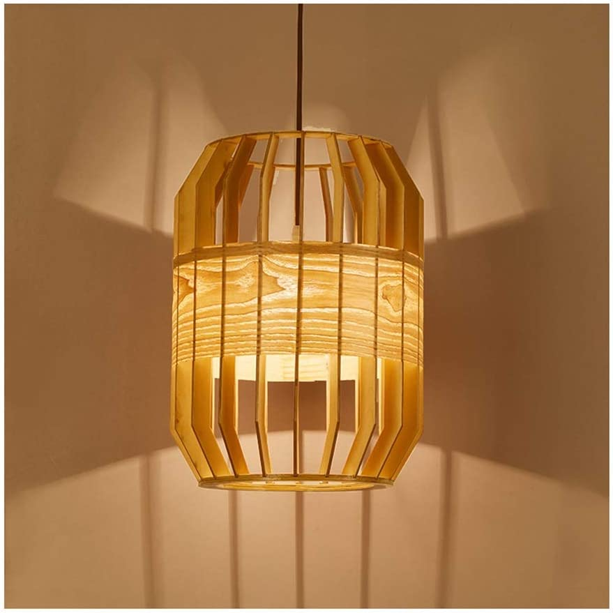 Pendant Light Simple Wood Art Living Room Decor E5 Ceiling Lamp