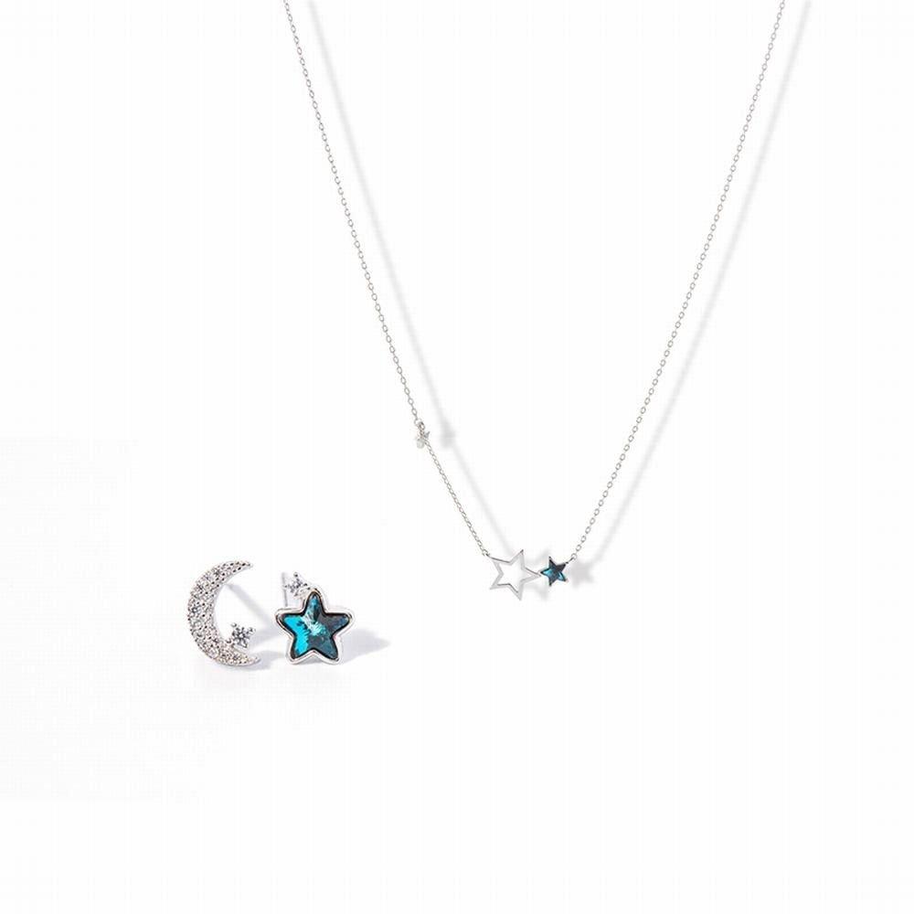 Ling Studs Earrings Hypoallergenic Cartilage Ear Piercing Simple Fashion Earrings Ear Jewelry Earrings Stars Moon Ink Blue Necklace Clavicle Chain Silver Two-Piece Blue