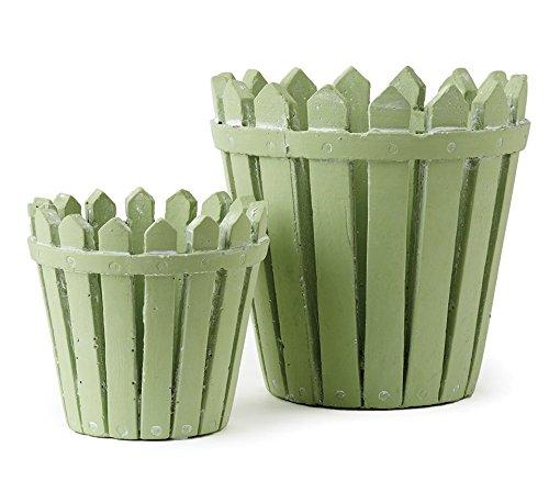 Picket Fence Cachepots Pot Planter Light Green, set of 2