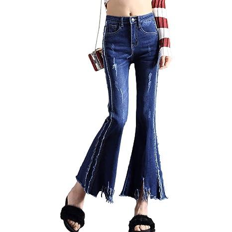 RXF - Pantalones Vaqueros para Mujer, con Flecos, Cintura ...