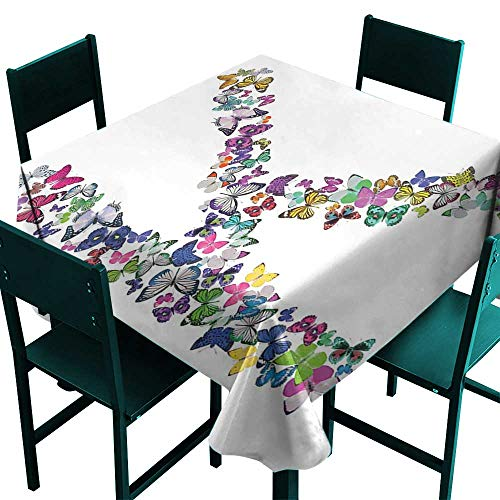 Table Monarch Oak - Warm Family Letter K Waterproof tableclothNature Inspired Typography Letters with Flying Monarch Butterflies Insects Wings Great for Buffet Table D63