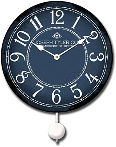 Blue White Pendulum Wall Clock, Available in 5 Sizes, Whisper Quiet, Non-Ticking