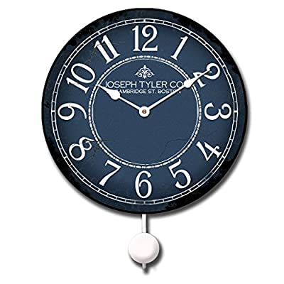 "Blue & White Pendulum Wall Clock, Available in 5 Sizes, Whisper Quiet, Non-Ticking - LIFETIME  WARRANTY.  We will replace your mechanism (not the entire clock) for as long as you own it. Mechanisms are tested before mailing, however, if it is damaged in shipping we will mail you a replacement. Some assembly is required to replace the mechanism. Our contact info is on clock back. (The warranty is through us not Amazon). SILENT QUARTZ MECHANISMS! Our clocks are very quiet. No annoying ticking!! Our clocks sit flat against the wall and do not wobble. The mechanisms are as recessed as possible, which makes for a nicely finished product. HANDMADE IN AMERICA BEAUTIFUL **PRINTED** FACE ON SOLID PIECE of 1/2"" MDF WOOD PRODUCT. The face is NOT a sticker. It is printed directly on the wood. Our clocks feel solid because of the thicker mdf wood. Our edges are nicely rounded. It takes us just a few days to make your clock. We are usually much faster than is listed. - wall-clocks, living-room-decor, living-room - 51evWD41FBL. SS400  -"