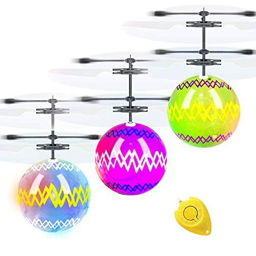3 Pack Color Easter Eggs Flying Balls Toys for Kids Boys Easter Gift Hand Remote Control Rechargeable Helicopter Led…