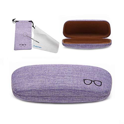Hard Eyeglass Sunglasses Case, Polemax Linen Fabric Glasses Protective Case for Medium Eyeglasses Frame Sunglasses (Purple)