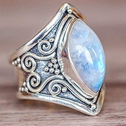 JEWH Vintage Tibetan Silver Big Healing Crystal Rings for Women - Boho Antique Indian Moonstone Ring