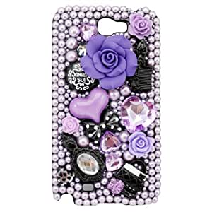 New Fashion Creative Handmade Series 3D Bling Crystal Full Pearls Fairy Tale Hard Back Case Cover for SamSung Galaxy Note II Note 2 N7100 (Purple)-Retail Packaging