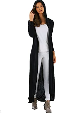 Amazon.com: Long Ankle Length Cardigan Duster Hooded Long Sleeve ...