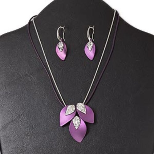 Necklace and earring, rhodium-finished