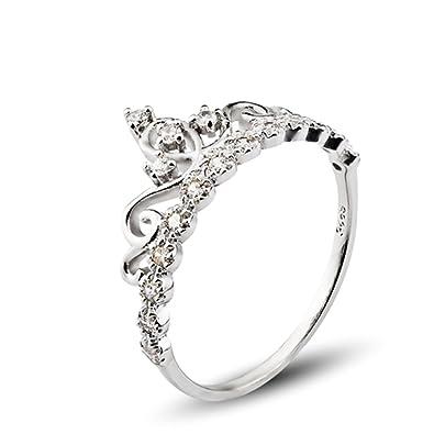 925 Sterling Silber Zirkonia Krone Damen Ring Verlobungsring Schmuck