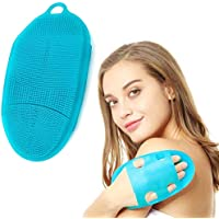 Silicon Shower Glove, Body Brush, Washing Scrubber,Shower Glove Exfoliating,Face Cleansing Pad (blue)