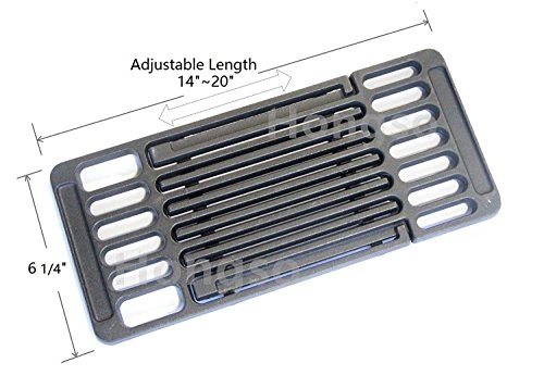 Hongso PCB001 Universal Cast Iron Cooking Grid Cooking grates Replacement for Brinkmann and Charmglow Grills, Replaces 1 Cooking Grate, 6 1/4-inch Width, Adjustable Length from 14-inch to 20-inch Adjustable Cooking Grid