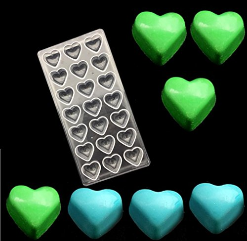 21 Cavity) Heart Clear Polycarbonate Chocolate Mold Jelly