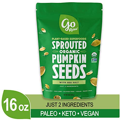(Go Raw Pumpkin Seeds, Sprouted & Organic, 1 lb. Bag | Keto | Vegan | Gluten Free Snacks | Superfood)