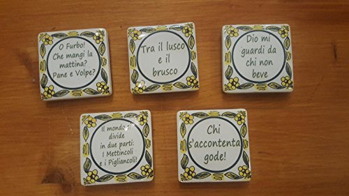 Collection magnet for the fridge. Tipical Italian Proverbs. Made in