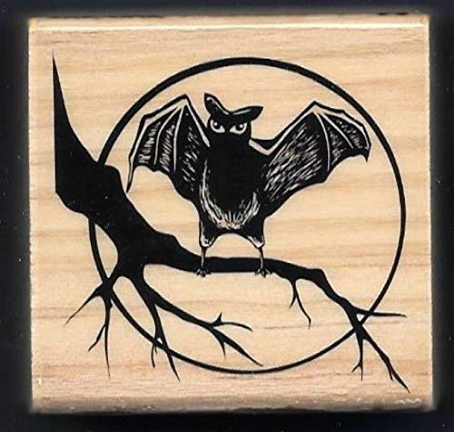 Rubber Stamp Frames New BAT Branch Moon Silhouette Night Sky Halloween Craft Smart Wood Rubber Stamp ()