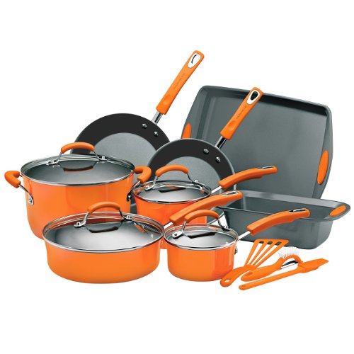 10' Porcelain Enamel - Rachael Ray Porcelain Enamel II Nonstick 15-Piece Cookware Set, Orange