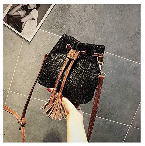 Utilisation Pompon Black Plage Ynnb Voyage Seau beige Shopping Pour Mode Tissé À Quotidienne Sac Et Mesdames Bandoulière De npHpf6T