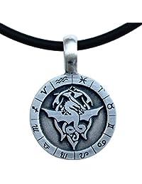Dragon Wheel of Zodiac Charm Amulet Pewter Pendant Necklace