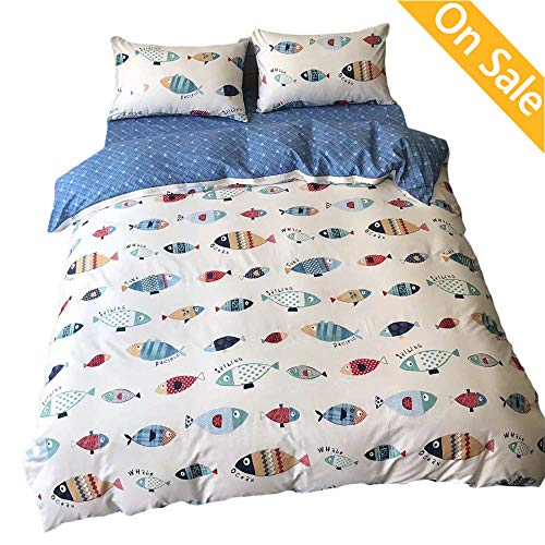 【Newest Arrival】 Duvet Cover for Kids Twin Cotton Boys Duvet Cover Blue Cute Cartoon Comforter Cover Fish Animals Bedding Set for Adults Teens Toddlers with Zipper Ties,NO Comforter NO Sheet