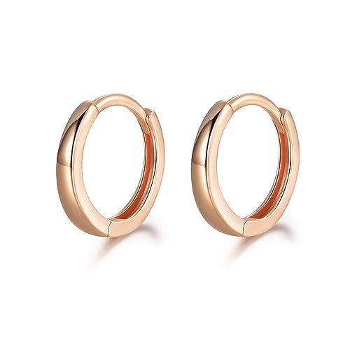 beec957c0f101 MASOP Sterling Silver 14K Gold Plated Hypoallergenic Cuff Earrings Small  Hoop Huggie Earrings Stud for Cartilage 13mm