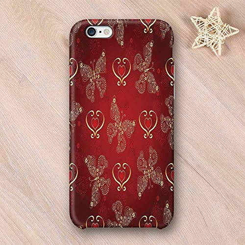 Maroon Hard Shell Compatible with iPhone Case,Valentines Day Romance Swirled Lines Ornate Lace Style Butterflies Hearts Compatible with iPhone 7/8,iPhone - Fish Butterfly Ornate