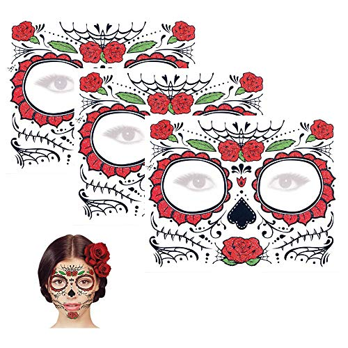 Sugar Skull Temporary Tattoo Day of the Dead Glitter Red Rose Design (3 Tattoo Kits)