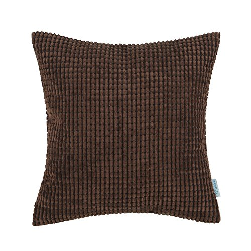 CaliTime Cozy Throw Pillow Cover Case for Couch Sofa Bed Comfortable Supersoft Corduroy Corn Striped Both Sides 20 X 20 Inches Coffee