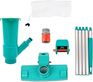 Relax love Pool Vacuum Cleaner Kit, Swimming Pool Vacuum Cleaner Brush Head Hot Tub Fountain Spa Pond Cleaning Tool Set (Light Blue)