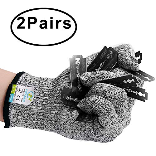 (REFAGO Cut Resistant Gloves 2 Pairs for Kitchen Working Kevlar X-Large and M-Size Gloves for Oyster, Cutting, Slicing - Level 5 Protection, EN388 Certified)