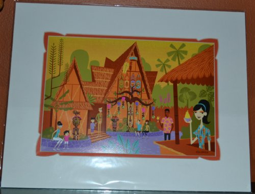Anniversary Disney 50th - Tropical Hideaway Disney Tiki Room 50th Anniversary SHAG Matted 18x14 Print