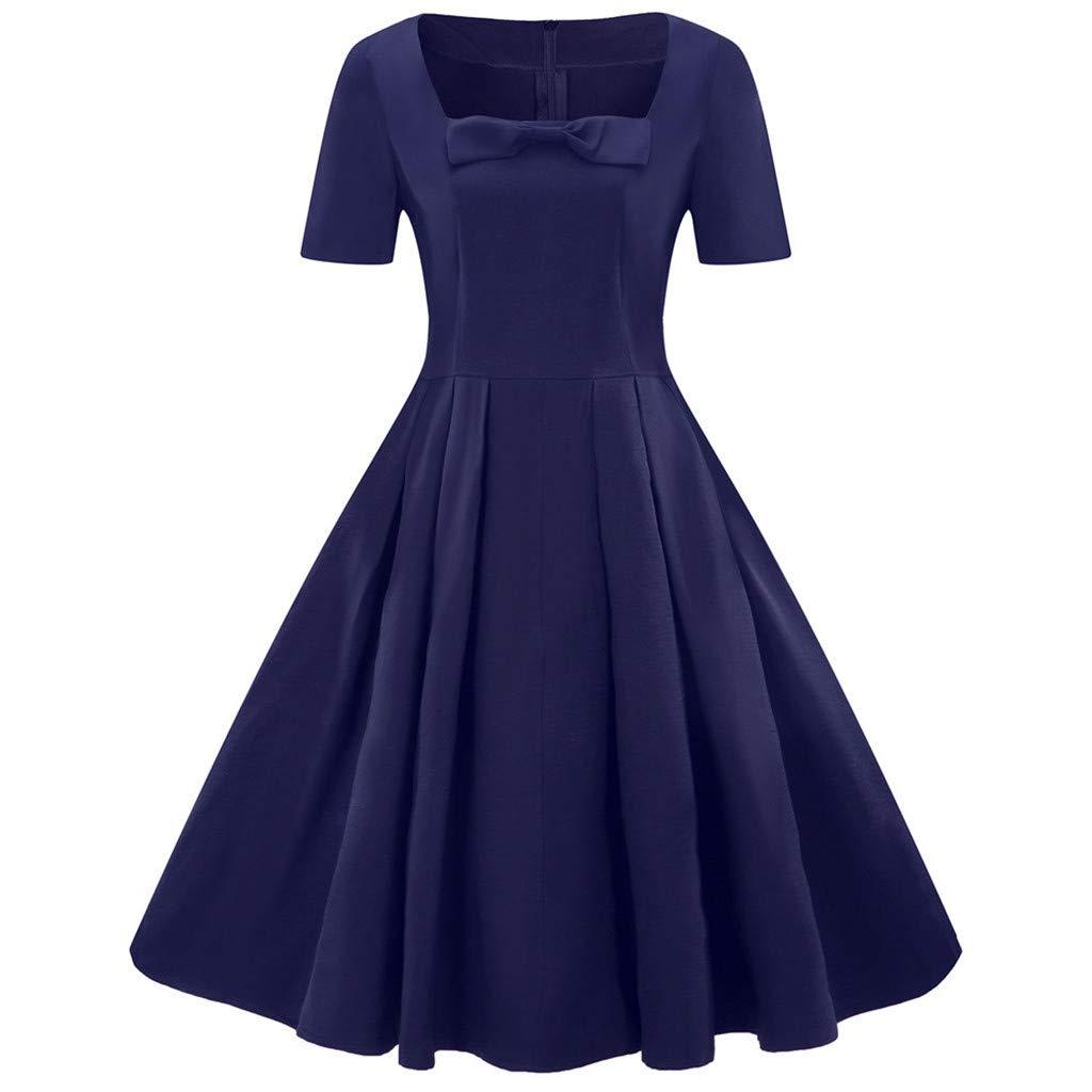 Women's Dress, Woaills Plus Size Swing Skirt Short Sleeve Vintage Dress Solid Bow Retro Flare Dress(Navy,XXXL)
