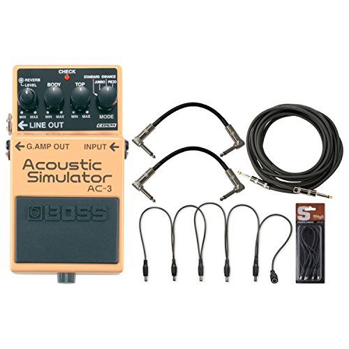 BOSS AC-3 Acoustic Simulator Pedal w/Daisy Chain Cable, 2 Patch Cables, and a G