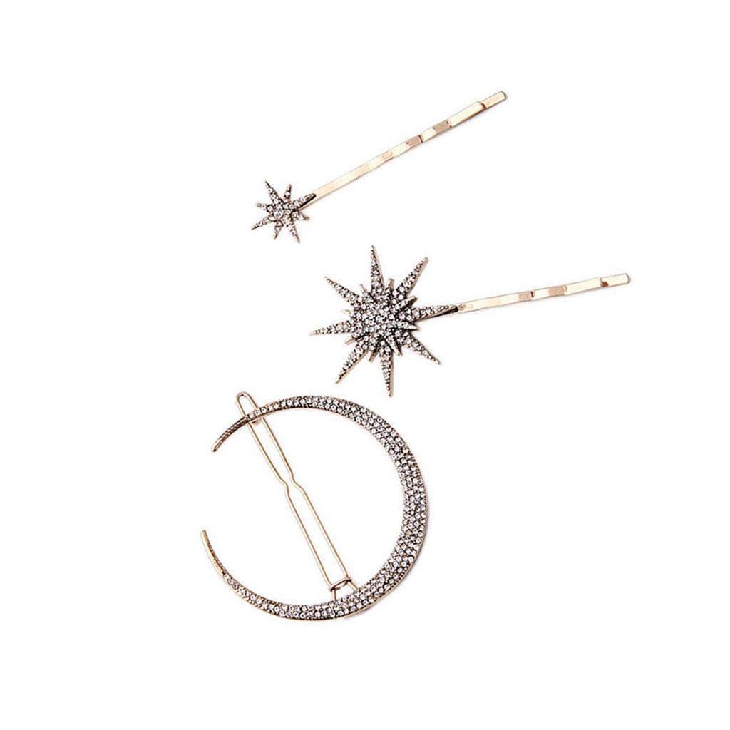 Horquilla de Regalo Clip de Popualr Crystal Estrella de la Luna del Rhinestone Pelo de la Joyería: Amazon.es: Joyería