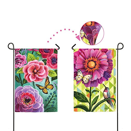 (Gifted Living 14S3284FB Flower Burst Two Sided Garden Flag, Pink/Purple)