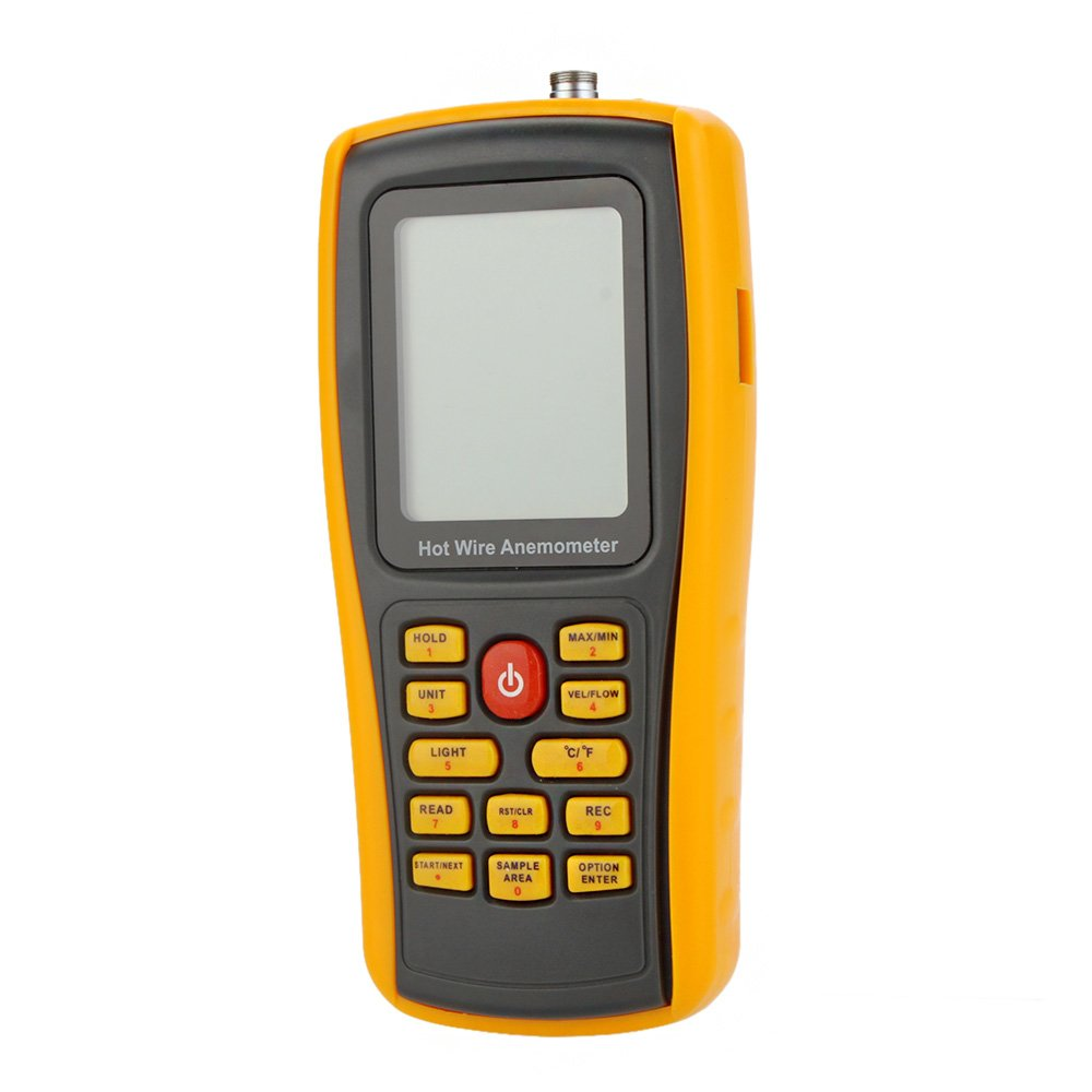 KKmoon GM8903 Hot Wire Digital Anemometer Wind Speed/Air Flow/Temperature Meter Tester Measuring 0~30m/s with USB Interface & Slim Sensor