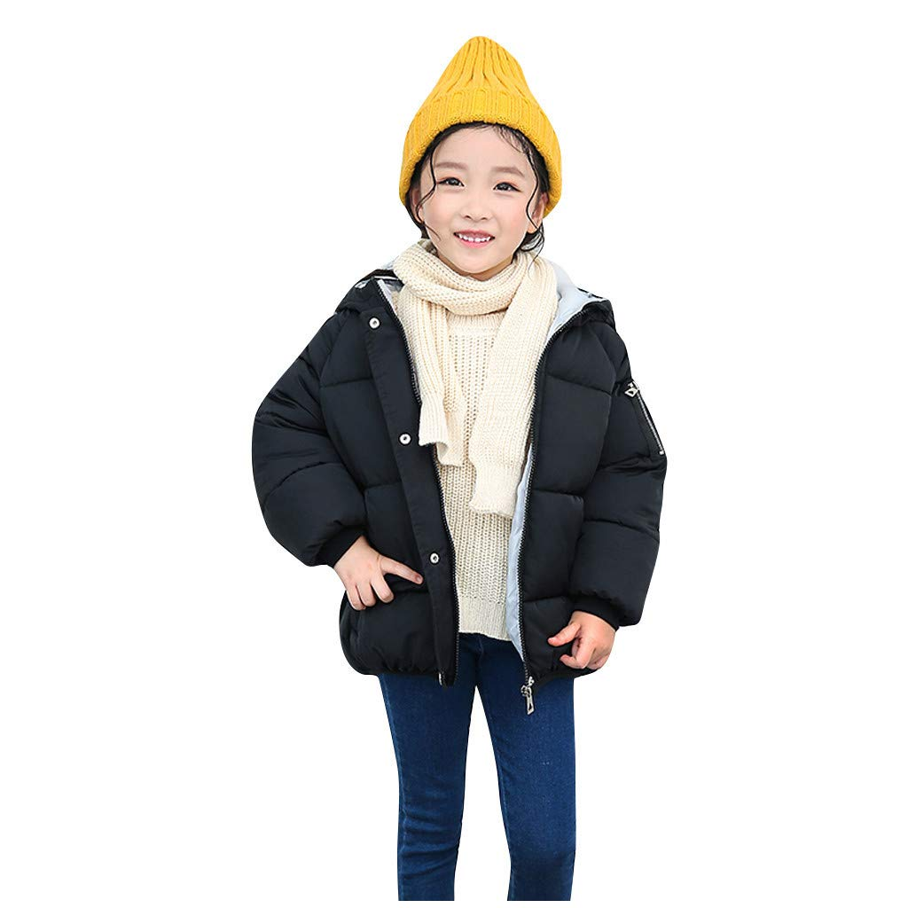 BFYOU Kids Children Winter Letter Button Warm Girl Boys Hooded Jackets Outerwear Coats Black by BFYOU_ Girl Clothing
