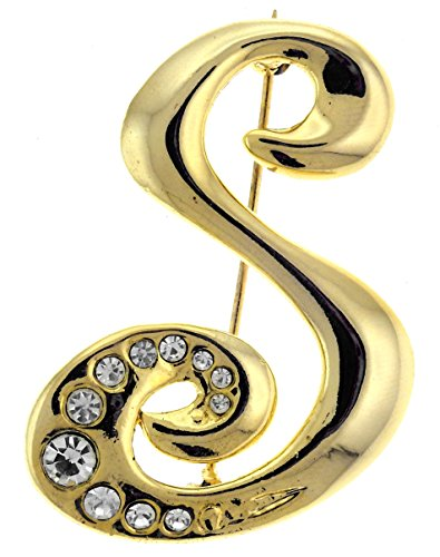 Initial Gold Tone Pin Brooch - 1