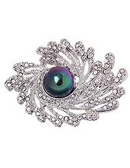 Simple Autumn Winter Fashion Diamante Rhinestone Flower Pearl Brooches Pins