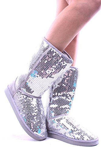 Silver Sequin Boots - Ositos SEQUIN FAUX FUR MID LENGTH BOOTS Shoes 6 silver