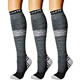 CHARMKING Compression Socks (3 Pairs) 15-20 mmHg is Best Athletic & Medical for Men & Women, Running, Flight, Travel, Nurses, Edema - Boost Performance, Blood Circulation & Recovery (L/XL,Assorted 23)