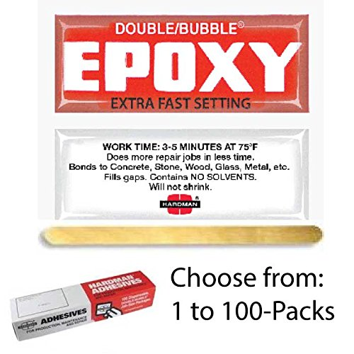 Double/Bubble® Red Extra Fast Setting Epoxy Adhesive, 100 Packs per Box 04001 - Epoxy Packet