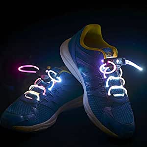 Flammi LED Shoelaces Light Up Shoe Laces with 3 Modes in 5 Colors Flash Lighting the Night for Party Hip-hop Dancing Cycling Hiking-type A (Dazzle Color)