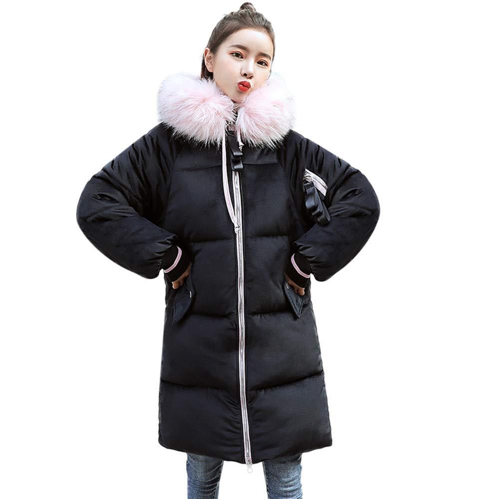 Zolimx Damen Dünnejacke Wintermantel Mode Frauen mit Kapuze Outwear warme Mantel lange dicke Pelzkragen Baumwolle Parka Oversize Jacke Feste Pullover Oberbekleidung