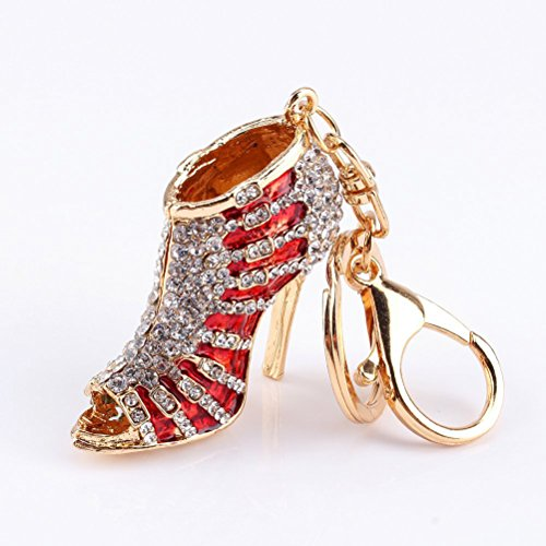 LUOEM Rhinestone Decorated High Heel Shoe Shaped Key Ring Keychain for Phone Car Bag Charm Gift - High Heel Shoe Keychain