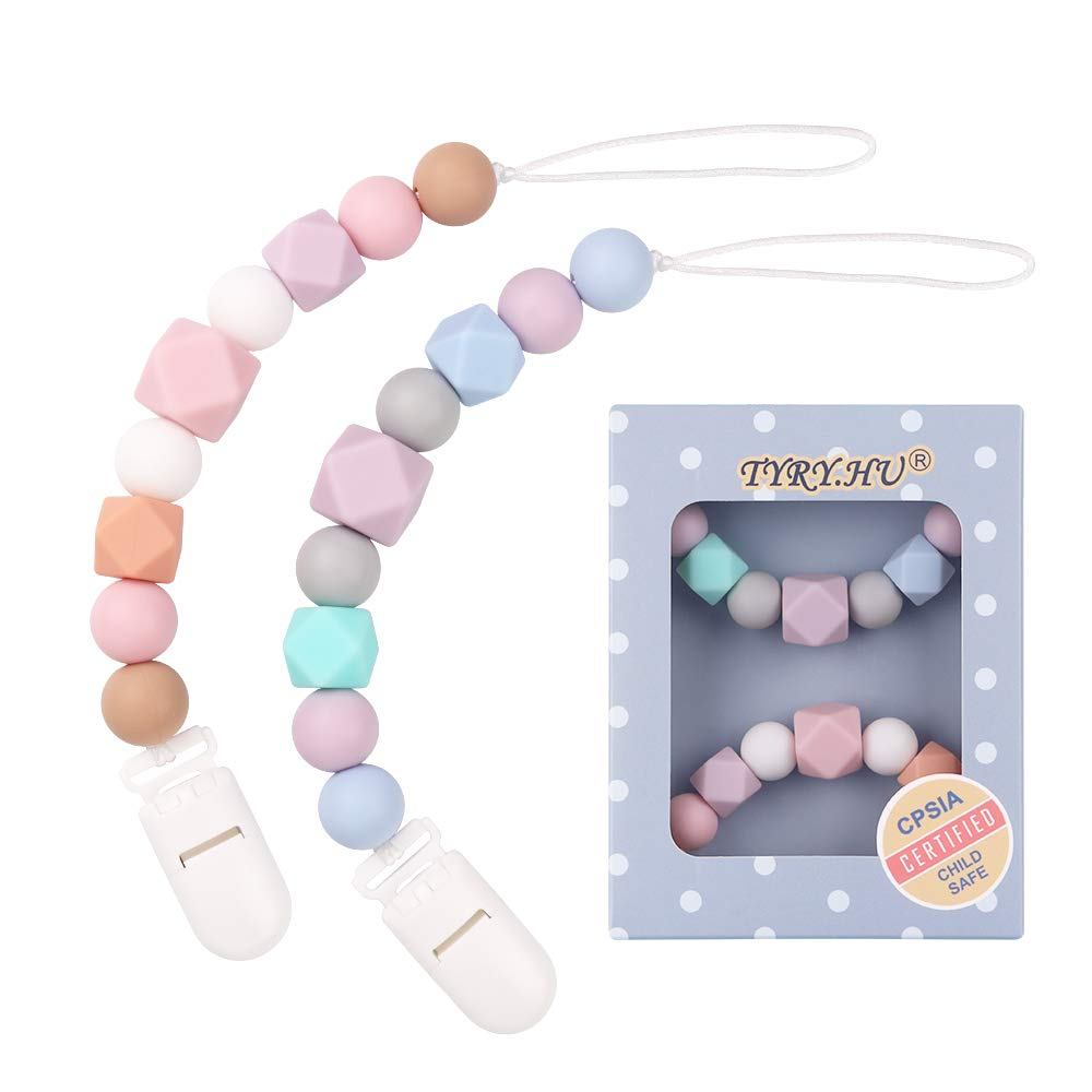 Pacifier Clip Soother Chains for Baby Girls(2 Pack), BPA Free Soft Silicone Teething Relief Beads Binky Teether Holder Set