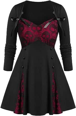 Dainzuy - Blusa gótica steampunk para mujer, diseño de calavera, sudadera victoriana